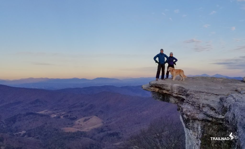 Trent, Nan, and Tsali on McAfee Knob