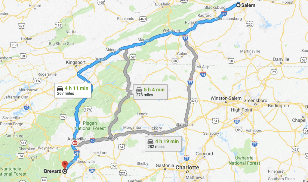 Salem, VA to Brevard, NC
