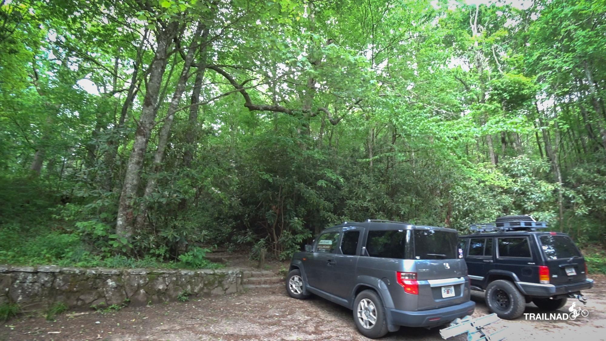 Parking area at Wayah Gap