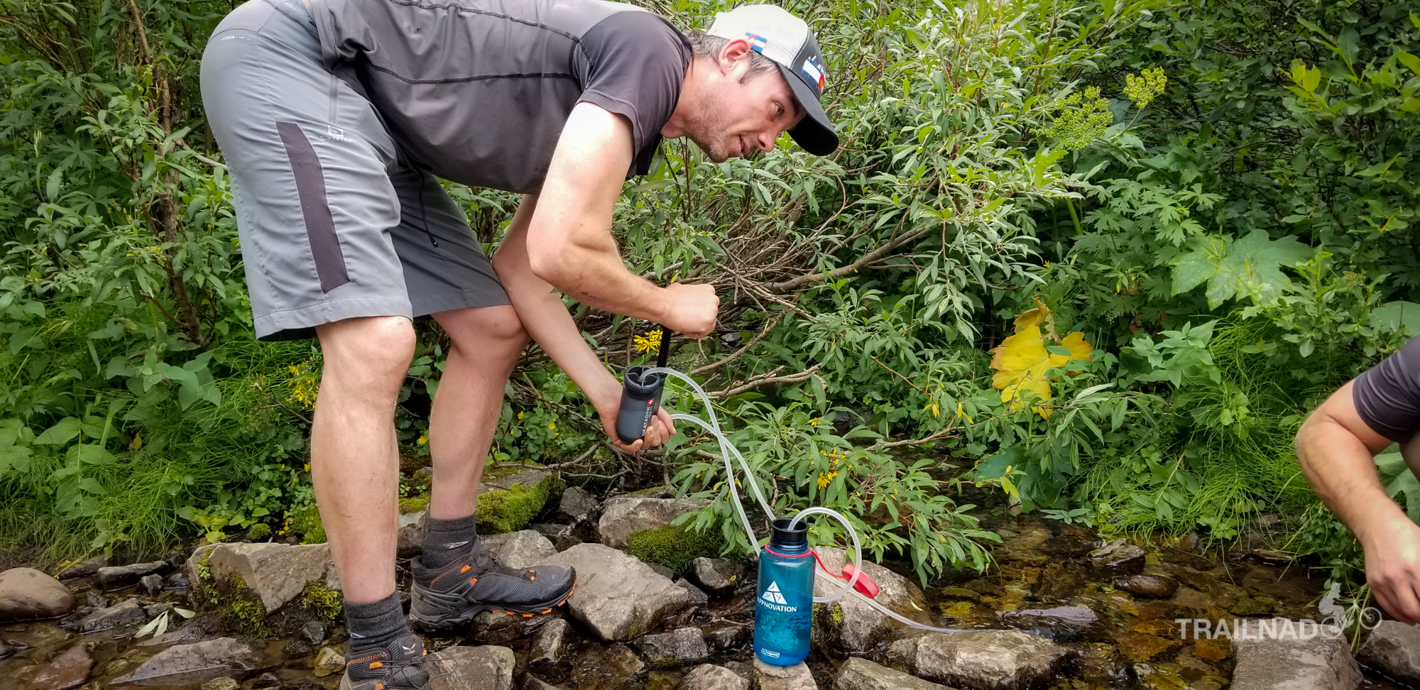 Filtering water on West Maroon Trail