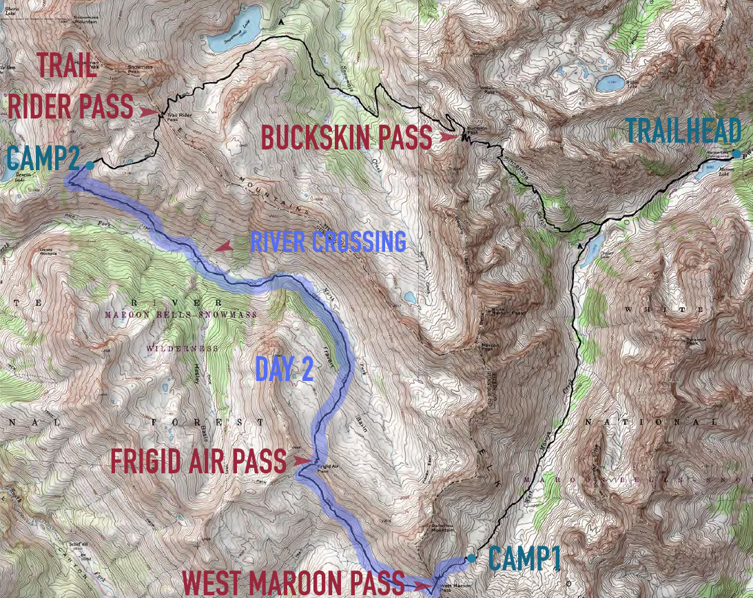 Day 2 on Four Pass Loop on Map